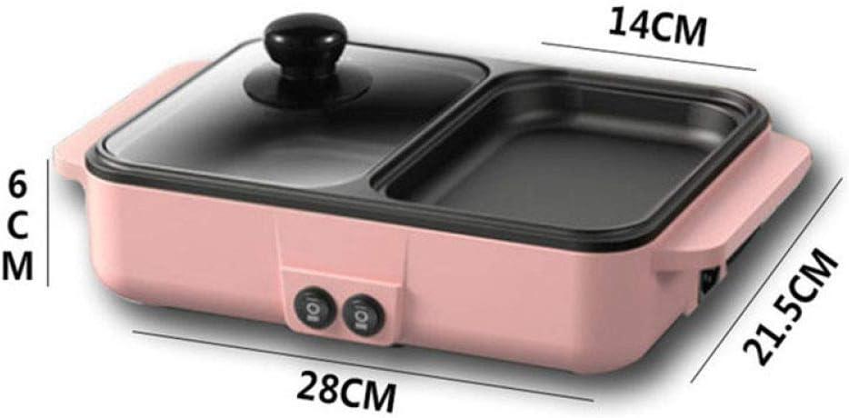 LJQLXJ un barbecue Mini dortoir Hot Pot Barbecue Grill Rôti Un Pot Multifonction Ménage Petit Électrique Cuisson Pan ébullition, Noir Noir