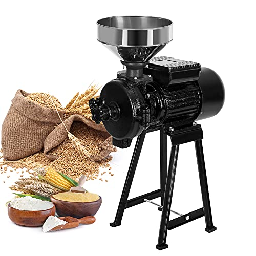 Electric Grain Mill Grinder 2200W Commercial Heavy Duty Feed Pulverizer Machine, Farm Dry Wet Cereals Milling for Corn Grain Wheat Coffee Spice, with Funnel, 110V Black -  Rocita