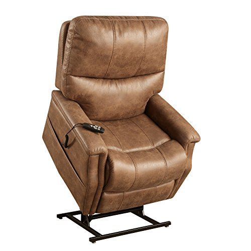 Pulaski Faux Leather Dual Motor Lift Chair in Badlands Saddle
