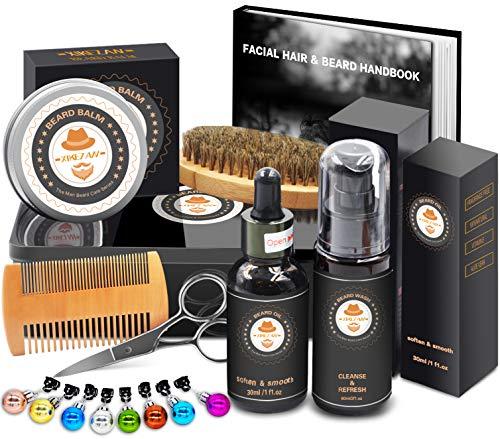 XIKEZAN Beard Grooming Kit in METAL BOX w/Beard Shaping Tool,Beard Shampoo/Wash,Beard Conditioner...