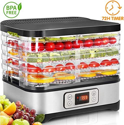 COOCHEER Deshidratador de Alimentos 250W,Desecadora de Fruta con 5 Bandejas Ajustables, Temperatura Regulable 35 °C-70 °C y Temporizador 0-72h,para Verduras Carne Flores,sin BPA