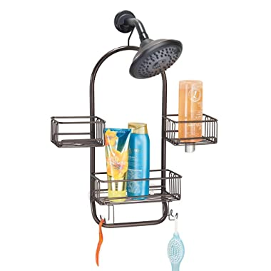 mDesign Modern Metal Wire Bathroom Tub & Shower Caddy, Hanging Storage Organizer Center - 2 Wash Cloth/Razor Hooks, 3 Baskets - for Bathroom Shower Stalls, Bathtubs - Rust Resistant - Bronze