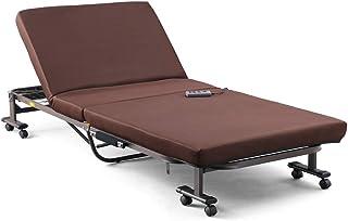 アイリスオーヤマ ベッド 電動リクライニングベッド 折りたたみ ボタン操作かんたん 点で支える プロファイルウレタン 日本製 ブラウン OTB-FDN 幅約97.5×奥行約200×高さ約33㎝