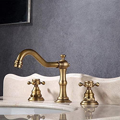 Grifo Grifo de estilo europeo Mejoras para el hogar Materiales de construcción Fontanería Grifos de baño Herrajes Juego de tres elementos Grifo de agua de lavabo separado de calor frío