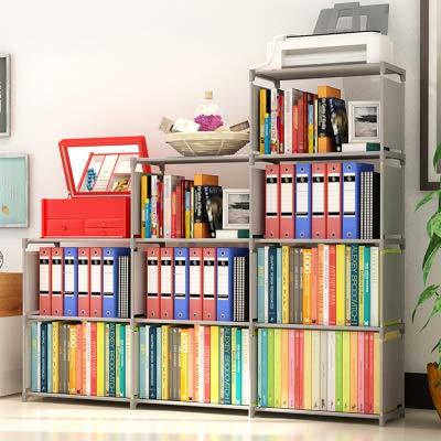 Binxin Bookshelf 4 Tier Shelf 9-Cube Cabinet Bookcase Mueble para Libros, Grey