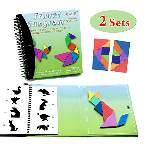 Tangram Game Travel Games 176 Magnetic Puzzle and Questions Build Animals People Objects with 7 Simple Magnetic Colorful Shapes Kid Adult Challenge IQ Educational Book(2 Set of Tangrams)- 6.3 x6.3 inch