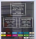 Don Cappello Öffnungszeiten Asia Schaufensterbeschriftung Aufkleber Werbung Laden Geschäft Silber Breite 20 cm
