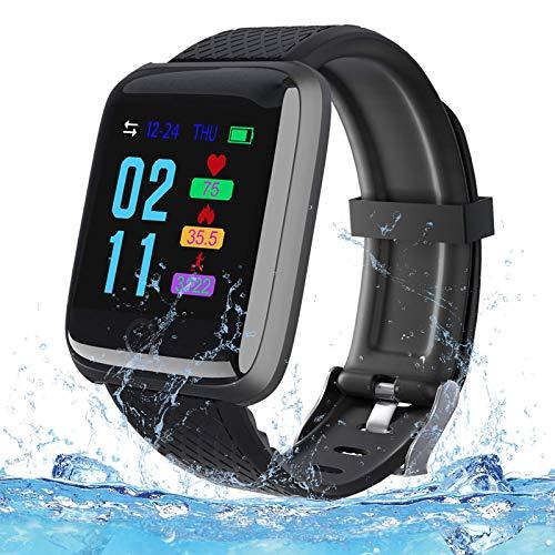 PLDDY Reloj Inteligente Deportivo,Smartwatch Impermeable Hombre Mujer Pulsómetros, Monitor de Sueño, Calorías Podómetro, Fotografía Remota,Pulsera Actividad Inteligente para Android iOS