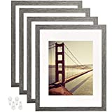 BAIJIALI 11x14 Picture Frame Rustic Grey Wood Pattern Set of 4 with Tempered Glass,Display Pictures 8x10 with Mat or 11x14 Without Mat, Horizontal and Vertical Formats for Wall