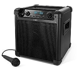 ION - Audio Tailgater Mobiles 50W Bluetooth Lautsprecher-System mit Mikrofon & Radio I Outdoor-Lautsprecher I Musikbox mit Mikrofon I Soundsystem I integrierte USB-Powerbank I aufladbar I Schwarz