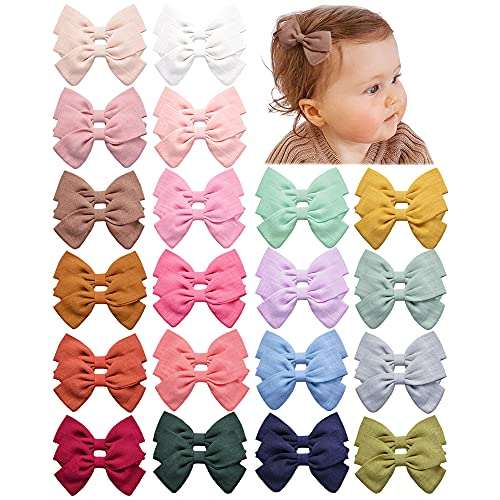 40 PCS Baby Girls Hair Clips Fully Lined Non Slip For Infant Fine Hair Bows Barrettes for Toddlers Kids Children in Pairs