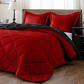 downluxe Lightweight Solid Comforter Set  Queen  with 2 Pillow Shams - 3-Piece Set - Red and Black - Down Alternative Reversible Comforter