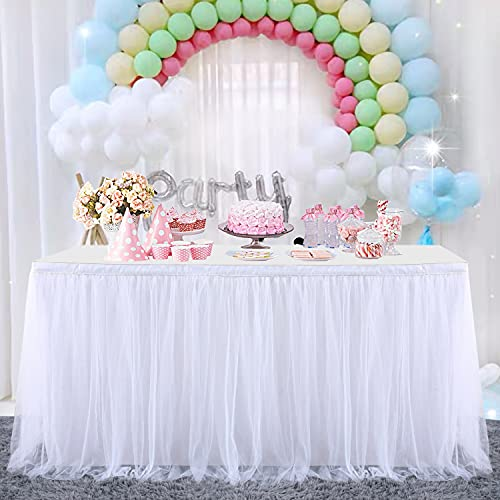 HBBMAGIC Tüll Tischrock Tischdecke Tütü Tischröcke Party Deko Für Hochzeit, Geburtstag, Candy Bar, Weihnachten(275*76CM, Weiß, Ohne Led)