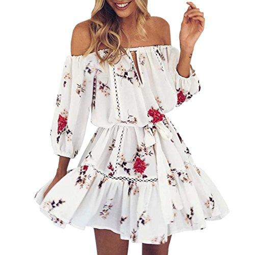 LONUPAZZ Robe à Imprimé épaules Manche 3/4 Femme Été Mini Robe Courte Sexy Robe De Plage (Asian XL, Blanc)