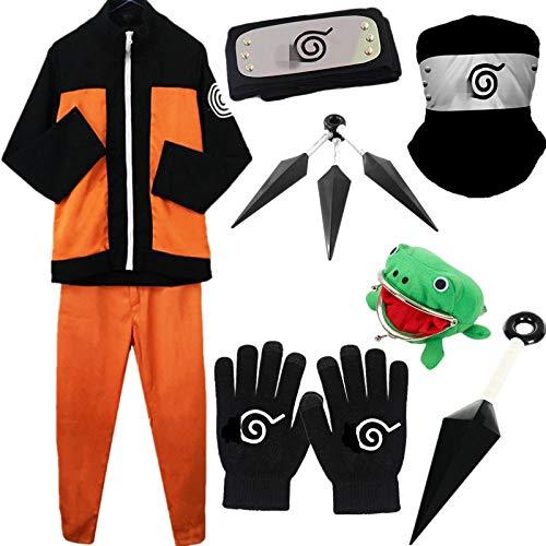 AISHANGYIDE Anime Naruto Shippuden/Naruto Uzumaki Cosplay Vestir Halloween Navidad Cumpleaos Carnaval Fiesta Mascarada Disfraz Naruto Saco Pantalones Headband Kunai Adolescentes Adulto Hokage Ninja
