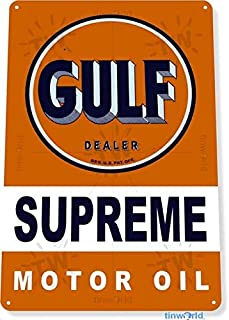 SRongmao Gulf Motor Oil Logo Garage Gas Retro Vintage Look Rustic Wall Decor Metal Tin Sign 16x12in