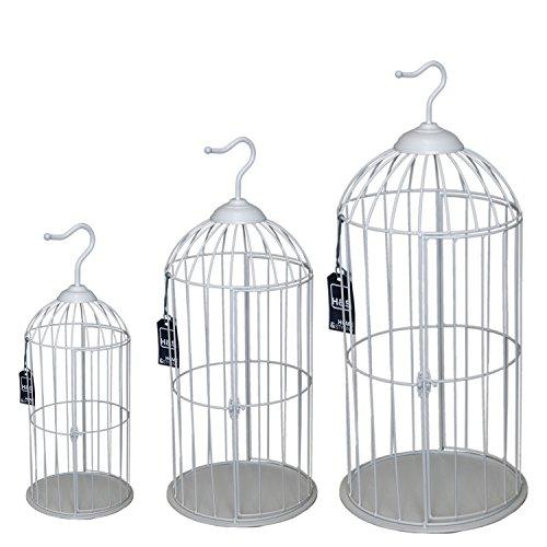 Deko-Shop-Hannusch Lot de 3 cages à oiseaux rondes style maison de campagne Blanc 62/47/35 cm