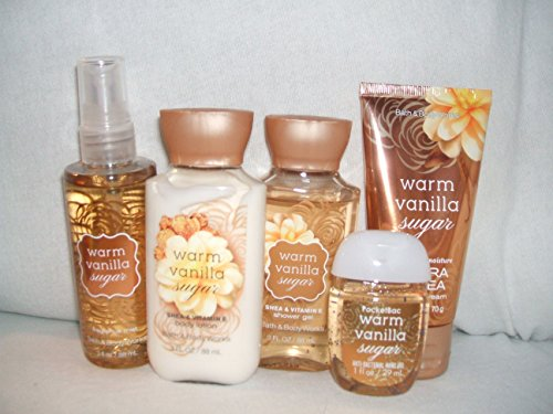 Bath & Body Works WARM VANILLA SUGAR New Look Travel size set of 5...