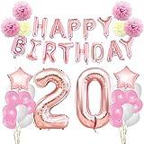 KUNGYO Rosa Oro Buon Compleanno Decorazioni Kit per 20 Anni-Rose Gold Happy Birthday Bandiera- Numero Gigante 20 e Stelle Palloncini Foil, Nastri, Carta Pom Fiori, Palloncini in Lattice