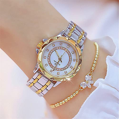 KLFJFD 2 Uds, Reloj De Cuarzo Resistente Al Agua A Escala De Diamantes De Imitación De Lujo Ligero A La Moda para Mujer, Banda De Aleación Informal Creativa, Pulsera Exquisita, Reloj De Regalo