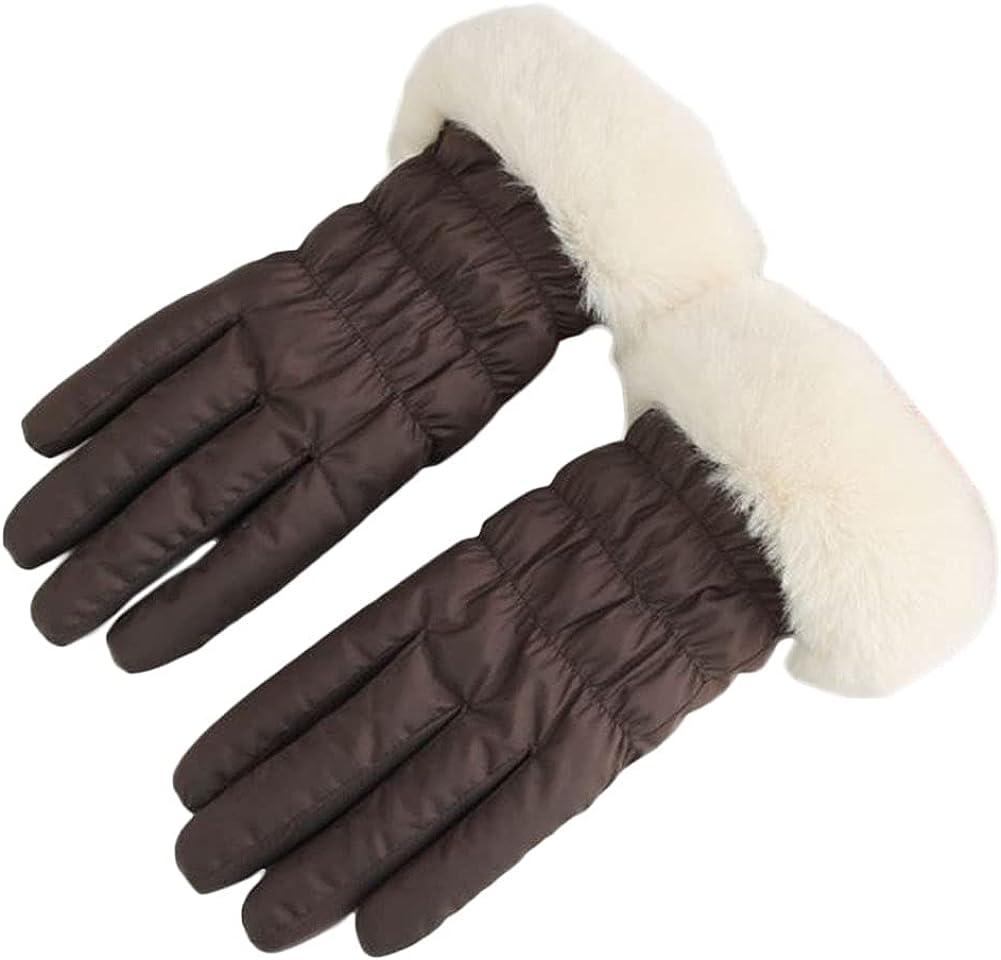 Winter Gloves For Women Fluffy Waterproof Windproof Warm Insulate Mitten Fleece Lining Cycling Running Work Cold Weather