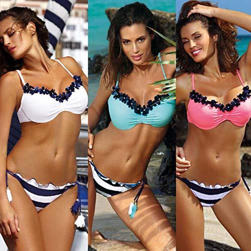 New Women Design Bikini Set Floral Print Swimwear Backless Bathing Suit Low Waist Striped Swimsuit Bandage Beachwear