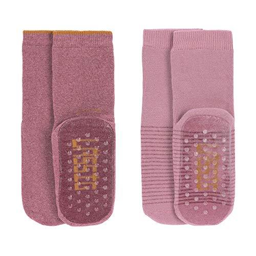 LÄSSIG Baby Kinder Anti-Rutsch Socken (2er Pack) Rosewood/Rose, Größe: 23-26