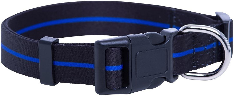 Native Pup Thin bluee Line Dog Collar Police Dog Collar (Medium)