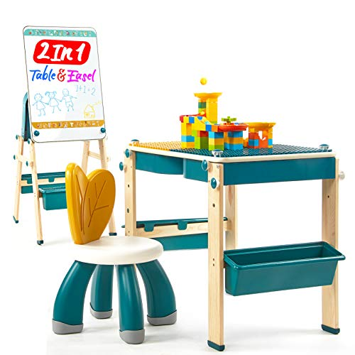 Toddler Table and Chair Set 2in1 Kids Table & Easel, Kids Table and Chair Set with 83 PCS Marble Run Brick Set & 1 Chair Toddler Kids Activity Table for Kids, Kids Art Easel for Kids