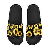 InterestPrint Sunflower Pattern on Black Background Classical Comfort Slide Sandals for Women 8 B(M) US