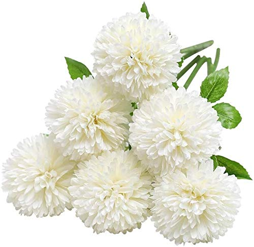 ZWR Flores de Hortensia Artificial Ramos de Novia,12 Piezas de crisantemo de Seda pequeña Bola de Flores para la decoración de la Oficina del jardín del hogar, arreglos Florales (Color : White)
