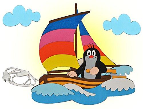 alles-meine.de GmbH Wandlampe Holz - der kleine Maulwurf - Pauli - Lampe mit Schalter für Kinder - Kinderzimmer Kinderlampe Wandleuchte Boot Segelboot