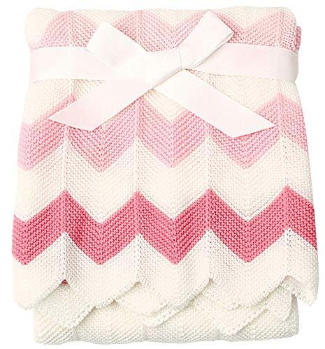 VIVILINEN Mantas para Bebés, Mantas de Rayas Tejidas a Mano 100x75 cm, Mantitas para Bebes en Cunas Cubierta de Silla de Paseo, Playa o Picnic, Mantas Envolventes para Bebés