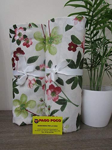 Pago Poco Telo arredo Copritutto Multiuso Disegno Fiori 100% Cotone Made in Italy!!!!!(Matrimoniale 260X270)