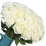 Veryhome 10 pièces Artificielle Roses Fleurs De Soie Faux Bouquets Floraux pour La Décoration De Mariage Maison Décoration De Fête d'anniversaire Jardin Décor (Blanc)
