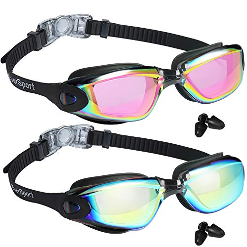 EverSport Swim Goggles, Pack of 2, Swimming Glasses for Adult Men Women Youth Kids Child, Anti-Fog, UV Protection, Shatter-Proof, Watertight