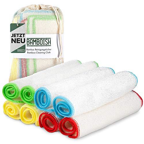 Bamboish Bambus Putztücher im 8er Set inkl. Aufbewahrungsbeutel - in 4 unterschiedlichen Farben | nachhaltige Bambus Tücher für Küche & Bad | macht deinen Haushalt hygienisch sauber