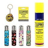 Clipper 4 Mecheros Encendedores Diversos Surtidos Bonitos Baratos,1 Carga Gas Encendedor Clipper 300 Ml,9uds De Piedra Clipper Y 1 Llavero Hibron Gratis 1-10003-4
