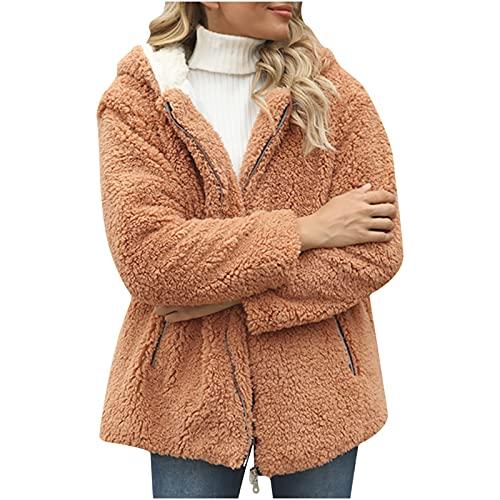 Hailmkont Abrigo de invierno para mujer, cálido, con capucha, chaqueta de entretiempo, con cremallera, monocolor, de gran tamaño, de piel sintética, abrigo de invierno, marrón, XXL
