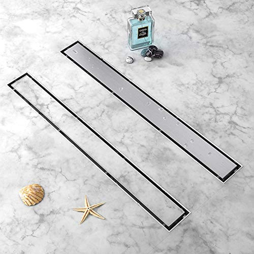 YEFU 2 IN 1 Linear Shower Drain 24-Inch, New type Linear Drains, 304 Stainless Steel Shower Floor Drain with Tile Insert Grate, Adjustable Leveling Feet, Hair Strainer