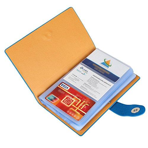 Business Card Holder for Men & Women, 300 Cards Business Card Case Book, Portable Business Card Binder File Sleeve Storage, Name Card Holder Organizer, Blue