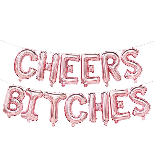 Rose Gold Cheers Bitches Balloon Banner | Rose Gold Decorations for Bachelorette Party, Bridal Shower, Hen Party | Cheers Bitches Mylar Foil Letter Balloons | 16inch