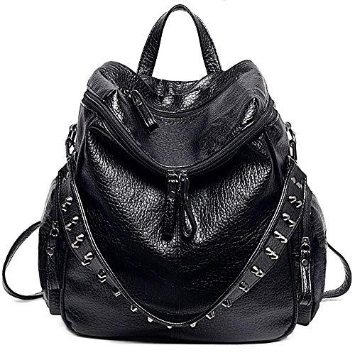 REFURBISHHOUSE Borsa donna zaino 3 modi Borsa a tracolla per donna con borchie rivet in pelle lavata PU (nera)