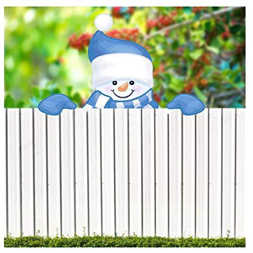 IKevan_ Garden Peeker Yard Art Yard Sign, Santa Claus/Christmas Reindeer/Elf/Snowman Fence Peeker Hugger Sign Board Yard Stake for Outdoor Christmas Tree Garden Decoration (C)