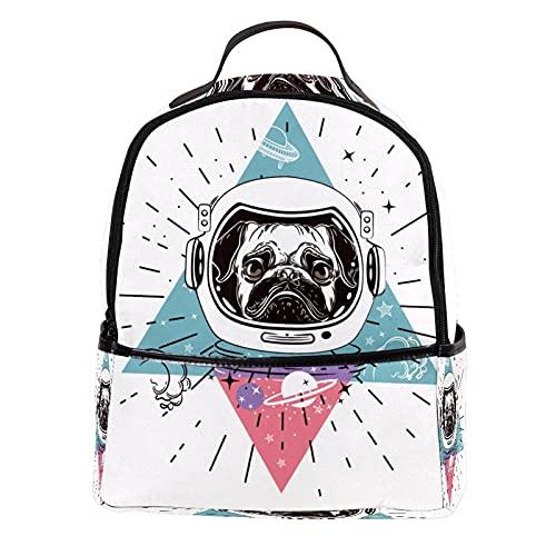 ATOMO Mini mochila casual divertido astronauta perro perrito pu cuero viaje compras bolsas Daypacks