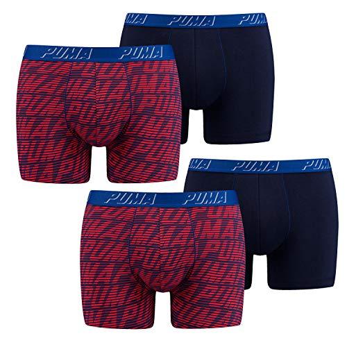 PUMA Herren Boxershorts | 4 Stück (XL, dunkelblau | dunkelblau gestreift)