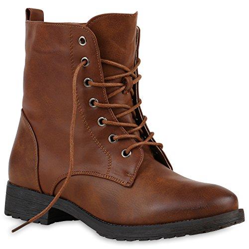 Damen Schnürstiefeletten Profilsohle Boots Camouflage Stiefeletten Leder-Optik Schnür Übergrößen Schuhe 121104 Hellbraun 42 Flandell