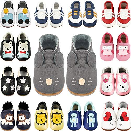 BAOLESEM Baby Lauflernschuhe Jungen Mädchen Weicher Leder Krabbelschuhe Kleinkind Babyhausschuhe,Grau Rat,12-18 Monate