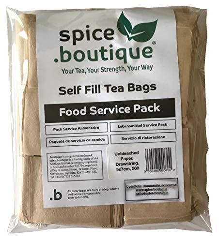 .boutique, spice.boutique Bolsas de te rellenables de papel reciclado sin blanquear, libres de plastico, para una taza, medidas 5x7 cm; 500 unidades.