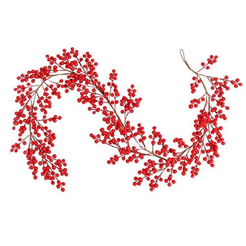 Lokipa - Ghirlanda natalizia con bacche rosse e bacche artificiali, colore: Borgogna